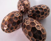 12 Vintage 21mm Coppery Metalized Acrylic Beads Bd182