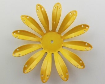 Vintage 75mm Bright Yellow Enameled Painted Flower Component Fl17