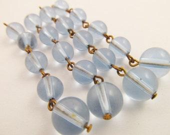4 Vintage Light Blue Plastic Bead Dangles Ch80