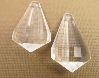 6 Vintage 30mm Crystal Clear Deco Faceted Pendants  Pd127