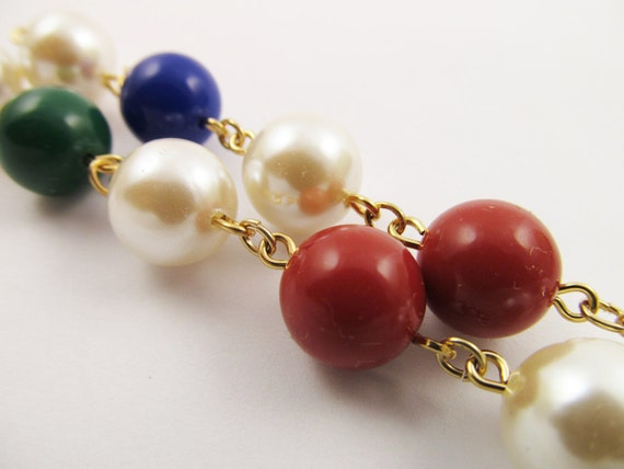 4 Vintage Faux Pearl and Multi-Color Bead Dangles Ch72