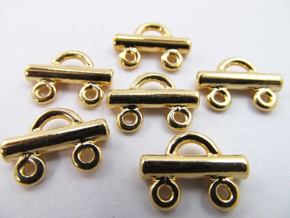 10 Vintage 15mm Gold-Plated Brass Connectors Con49