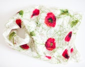 Spring sale, felted scarf, felted wrap, poppy, white, red, green, wool shawl, mother's day gift idea, fashion, for her, handmade, textile
