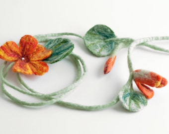 Felted necklace, wool collar scarf, mint, orange, felted jewelry, textile flower,Indian cress, fashion jewelry, felted necklace, for wedding