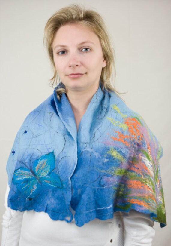 Felted scarf merino wool - sky blue, blue and orange -  The Tropics