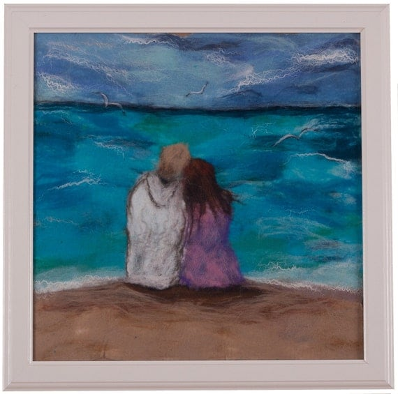 Felted wall hanging, wool picture, turquoise, blue, ocean, beach lovers, textile picture, love story, father's day gift, for him,for wedding