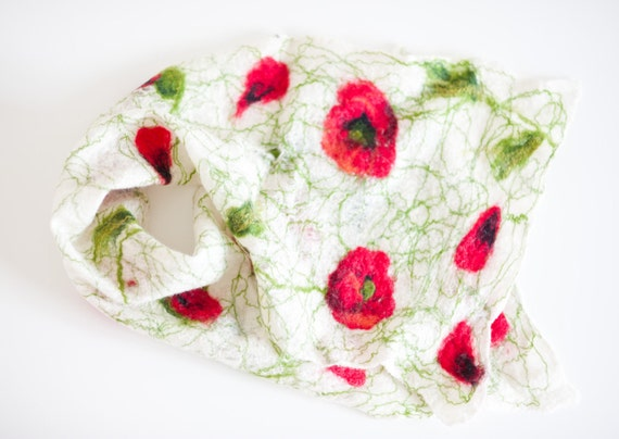 Felted scarf, felted wrap, poppy, white, red, green, wool shawl, wedding gift idea, for prom, for her, handmade scarf, wearable art, textile