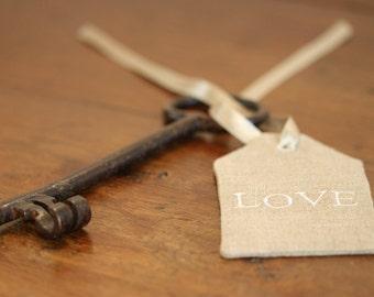 Decorative linen custom gift tag
