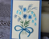 Teal flower bouquet embroidered picture (4x6)