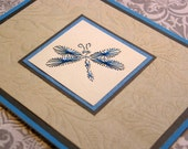 Embroidered Turquoise Dragonfly Card Grey embossed Background