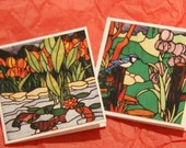 Stained Glass Mini Cards or Gift Tags (set of 6) koi in pond, blue jay - SandrasCardShop
