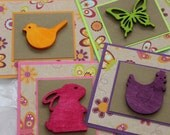 Animal themed Mini Cards with Wooden cutouts (set of 4) gift tags, thank you cards rabbit chicken