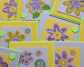 SALE Yellow and mauve flower Mini Cards (set of 7)