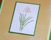 Yellow Hyacinth Embroidered Card Flowers Gold and green