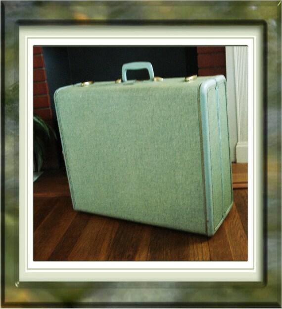 Samsonite Vintage Luggage Mint Green Tweed