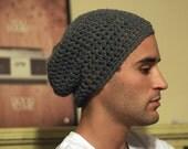 Gray Crochet Slouchy Beanie