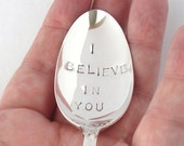 The Inspirational Spoon, Hand Stamped Vintage Silverplated