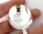Vintage Baby Spoon, Hand Stamped, Silverplated, Wee One