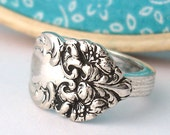 Spoon Ring, size 6, Tiger Lily 1901, Floral Design
