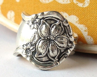 Antique Spoon Ring, size 5, Orange Blossom 1910