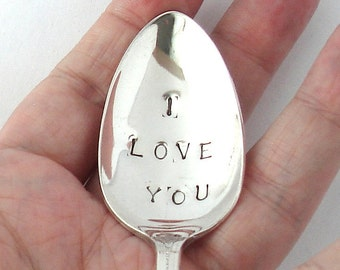 I Love You Spoon, Hand Stamped Vintage Silverplated Spoon, Present Topper, Table Settings, Wedding Favors