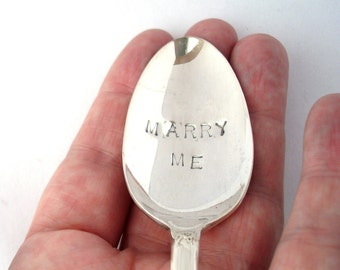 The Marry Me Spoon, Hand Stamped Vintage Silverplate Spoon