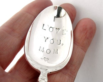Gift for Mom, Hand Stamped Vintage Spoon, I Love You Mom