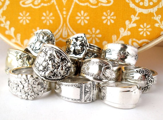 Wholesale Lot of 12, Silverplated Vintage Spoon Rings