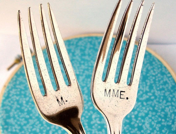French Wedding Cake Forks, Vintage Hand Stamped M. and Mme., Monsieur and Madame
