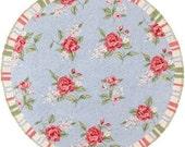 "Shabby blue & pink round dollhouse miniature rug carpet 5"" diameter"