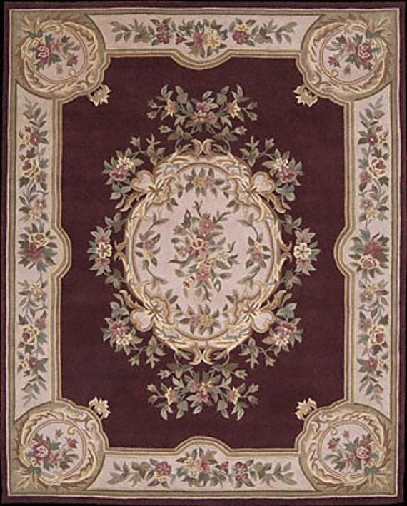 French Victorian Dollhouse Room Size Rug Burgundy Floral