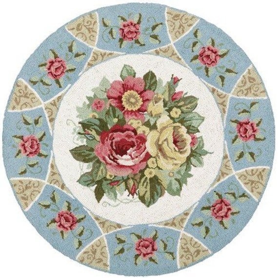 Gorgeous Shabby Chic Victorian 8 Round Area Rug