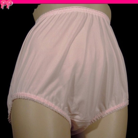 Vintage Nylon Panties Pretty Pink Sheer Gaymode Granny Briefs Size Small S 5 Pinup Lace Trim High Waist