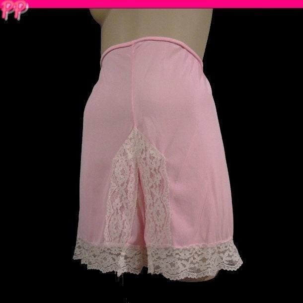 Vintage Acetate Panties Light Pink White Lace Granny Briefs