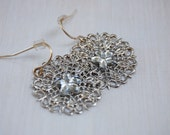 Silver web dangle earrings with crystal flower - Look at me now