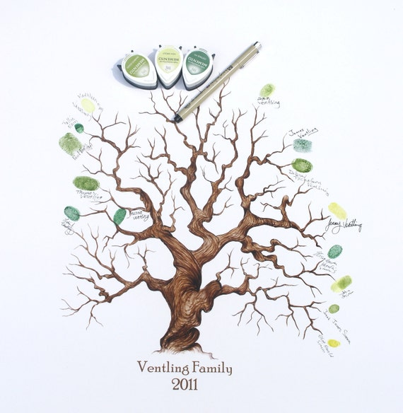 Wedding Guest Book or Family Thumbprint Tree, (Complete Kit, 16x20)