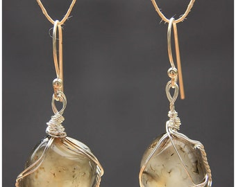 Polished Luck Agate Earrings