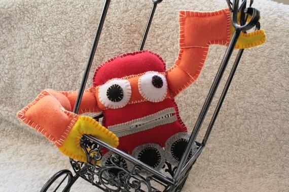 Plush Robot Hand-stitched Felt Plushie: ROY the Rainbow Robot