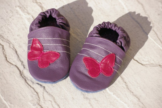 Purple Butterfly Leather Soft Sole Baby Shoes - Choose your size