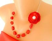 satin rose elegant necklace decorated naturel red coral gemstone bridal jewelry christmas gift wedding jewelry