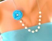 5 Set of  bridesmaids gifts malibu blue organza rose necklace wedding jewelry  bridal jewelry bridesmaid jewelry bridesmaid gift