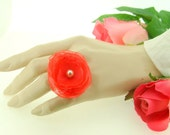 wedding jewelry,hot pink organza flower adjustable ring decorated ivory pearl wedding jewelry bridal jewelry bridesmaid gift christmas gift