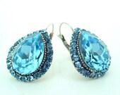 Vintage inspired Swarovski crystal art deco rhinestone ocean blue earrings-Wedding jewelry-Bridal jewelry-Bridesmaid gifts- Birthday gifts