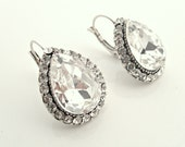 Vintage inspired Swarovski crysal art deco rhinestone antique silver bridal earrings-Wedding jewelry -Bridesmaid gifts-Choose your color !!