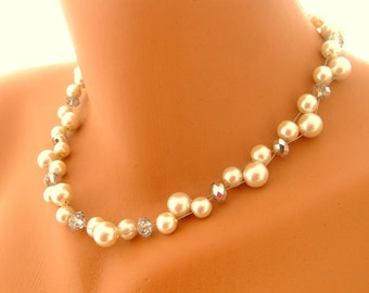 Bridal pearl necklace double strand bridal necklace decorated clear crystals wedding jewelry bridal jewelry bridesmaid gifts
