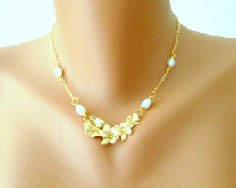 Matte gold chrerry blossom bridal necklace decorated with freshwater pearls wedding jewelry bridal jewelry bridesmaid gifts