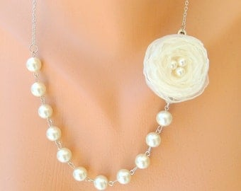 wedding jewelry pearl and cream white organza rose wedding necklace bridal necklace bridesmaid gifts bridesmaid necklace