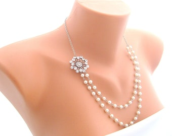 Art deco swarovski crystal rhinestone wedding necklace decorated double strands ivory pearls wedding jewelry bridal jewelry