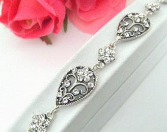 Vintage style art deco swarovski crystal rhinestone adjustable bracelet wedding jewelry bridal jewelry bridesmaid gift birthday gifts