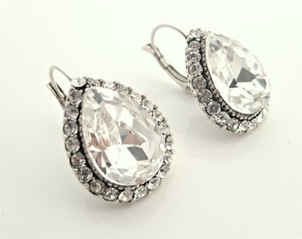 Vintage inspired Swarovski crysal art deco rhinestone antique silver bridal earrings-Wedding jewelry -Bridesmaid gifts-Vintage wedding